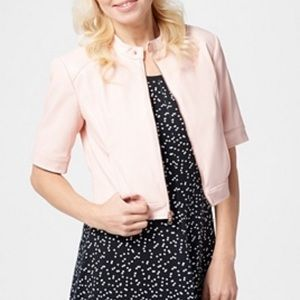 Isaac Mizrahi Pink Faux Leather Cropped Jacket